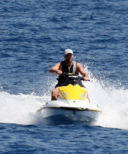 Statham, vacationing off the shores of Fuck City